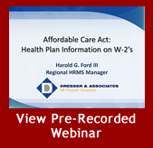 Health Plan Information on 2012 W-2's Pre-Recorded Demo
