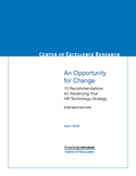 An Opportunity for Change 10 Recommendations for Advancing Your HR Technology Strategy